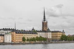 21 MAJ, 2016 Sztokholm, SZWECJA - Sceniczna panorama Stary Holuje Fotografia Stock