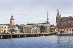 21 MAJ, 2016 Sztokholm, SZWECJA - Sceniczna panorama Stary Holuje Obrazy Royalty Free