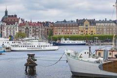 21 MAJ, 2016 Sztokholm, SZWECJA - Sceniczna panorama Stary Holuje Zdjęcia Royalty Free