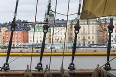 21 MAJ, 2016 Sztokholm, SZWECJA - Sceniczna panorama Stary Holuje Zdjęcie Stock