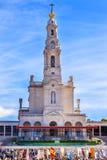 Maj 13th beröm Mary Banners Fatima Portugal Fotografering för Bildbyråer