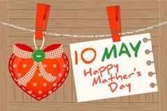 Maj 10th mors dag Hjärtahälsning stock illustrationer