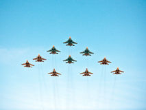 Maj 9th Victory Parade flygshow, Moskva, Ryssland Royaltyfria Foton