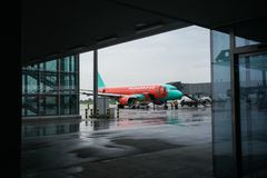 Maj 15, 2014 Ukraina internationell flygplats Borispol: En ny terminal för avvikelsen av flygplan Nivån är förberedd för Arkivfoton