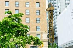 Maj 12, 2019 - Vancouver, Kanada: Rosewood Gruzja Hotelowi luksusowi zakwaterowania, powierzchowność przy Gruzja i Howe ulicy, zdjęcie stock