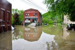 Maja 2011 powódź w Montpelier, Vermont Zdjęcia Royalty Free