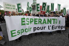 Maja dnia manifestacja, Paryż, esperanto fan fotografia royalty free