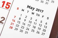 MAJA 2017 kalendarzowa strona Zdjęcie Stock