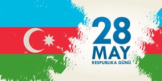 28 Maja Respublika gunu Przekład od azerbejdżańskiego: 28th May R Obrazy Stock