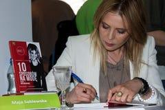 Maja Sablewska sulla quarta fiera del libro a Varsavia Fotografie Stock