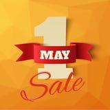 Maja 1st sprzedaż tła łęku dzień prezenta pracy czerwone retro gwiazdy Royalty Ilustracja