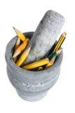 Maja y mortero con los lápices Imágenes de archivo libres de regalías