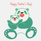 Majcher, karta z szczęśliwym ojcem i dziecko panda, Zdjęcie Stock