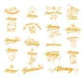 Majcher lub etykietki z pszczołami dla miodowego zbiornika ilustracji