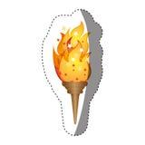 majcher olimpijska pochodnia z żółtym płomieniem Obraz Royalty Free