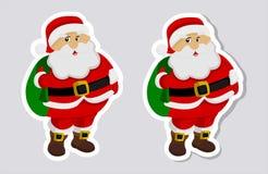 Majcher Santa Claus z i bez cienia Zdjęcie Stock