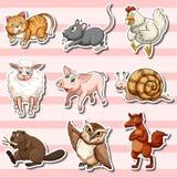 Majcher ustawiający z ślicznymi zwierzętami na różowym tle ilustracja wektor