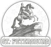 Majcher z Brązowym jeźdza zabytkiem w St Petersburg royalty ilustracja
