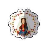 Majcheru łuk liście z dziewicą niepokalany serce Mary ilustracji