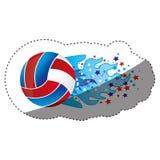 majcheru kolorowy olimpijski płomień z gwiazdami i siatkówki piłką Fotografia Royalty Free