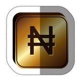 majcheru złoty kwadrat z waluta symbolem nigeryjski naira ilustracja wektor