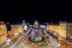 Majdan Nezalezhnosti przy nocą przed rewolucją Zdjęcia Stock
