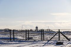 Majdanek集中营在鲁布林,波兰 免版税库存照片