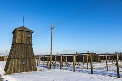 Majdanek concentration camp in Lublin, Poland. Guard towers in Majdanek concentration camp in Lublin, Poland stock photography