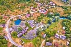 Majerovo vrilo rzeczny źródło Gacka widok z lotu ptaka zdjęcie royalty free