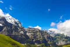 Majestätische Ansichten des Trios Bernese Oberland stockfotos