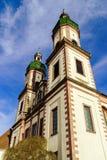 Majestätische Ebersmunster-Abtei außerhalb der Ansicht Stockfotografie