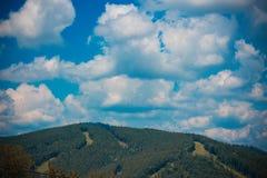 Majestätische Karpatenberge bedeckt mit Koniferenbäumen stockbild