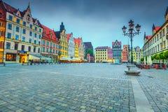 Majestätische Morgenszene in Breslau auf Marktplatz, Polen, Europa Lizenzfreies Stockfoto