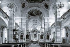Majestätischer Innenraum Ebersmunster Abbey Cathedral Lizenzfreie Stockfotos