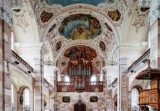 Majestätischer Innenraum Ebersmunster Abbey Cathedral Lizenzfreies Stockbild