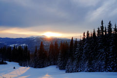 Majestätischer Sonnenuntergang in der Gebirgslandschaft Drastischer Himmel Karpaten, Ukraine, Europa Stockbilder