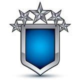 Majestätisches blaues Vektoremblem mit fünf silbernen dekorativen Sternen Stockbilder