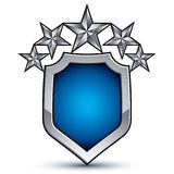 Majestätisches blaues Vektoremblem mit fünf silbernen dekorativen Sternen Stockfotos
