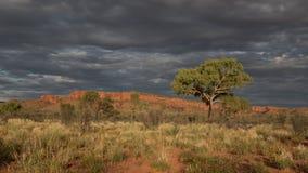 Majestätisches Uluru bei Sonnenuntergang an einem klaren Winter ` s Abend im Nordterritorium, Australien Lizenzfreies Stockbild