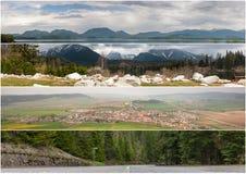 Majestätisk bergsjö i nationalparken höga Tatra Strbske Pleso Slovakien, Europa royaltyfria bilder