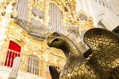 Majestätisk inre av domkyrkan Toledo, Spanien Förklarad värld Royaltyfri Fotografi
