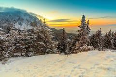 Majestätisk solnedgång och vinterlandskap, Carpathians, Rumänien, Europa arkivfoto