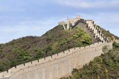 Majestätisk stor vägg på solnedgången på Jinshanling som 120 KM är nordostlig från Peking Arkivfoton