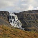 Majestätisk vattenfall Dynjandi som namnges också Fjalfoss iceland Arkivbild