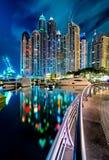 Majestatyczna kolorowa Dubai marina linia horyzontu podczas nocy arabski Dubai emiratów marina jednoczący Zdjęcie Royalty Free