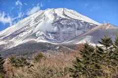 Majestatyczni widoki zakrywający śnieg Wspinają się Fuji, Japonia Fotografia Stock