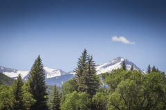 Majestatyczny śnieg osiąga szczyt przy Paonia stanu parkiem, Kolorado fotografia royalty free