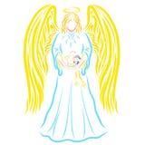 Majestatyczny anioł trzyma oskrzydlonego dziecka z pluszową zając ilustracji