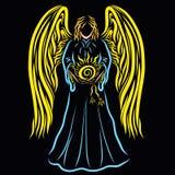 Majestatyczny anioł z słońcem w jego rękach na czarnym tle ilustracja wektor