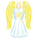 Majestatyczny anioł z słońcem w jego rękach, wzór ilustracja wektor